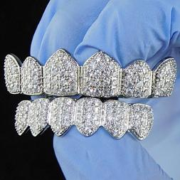 Grillz Set CZ Gems Iced Teeth Micro Pave Silver Tone 6/6 Pre