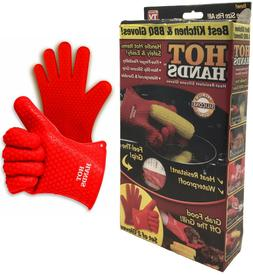 New Hot Hands Heat Resistant Silicone Cooking Gloves Waterpr