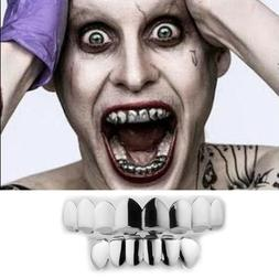 JOKER GRILLZ 8 Teeth Top Bottom Silver Fake Mouth Grills for
