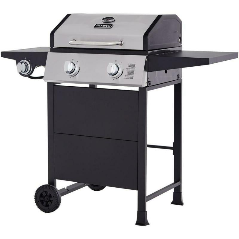 2-Burner Open Cart Gas in Stainless Steel Black with Side