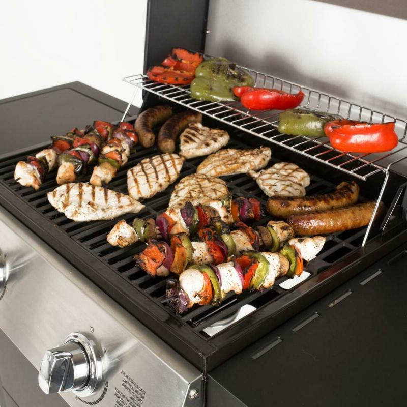 2-Burner Cart Propane Gas Grill in Stainless Steel and Black Side