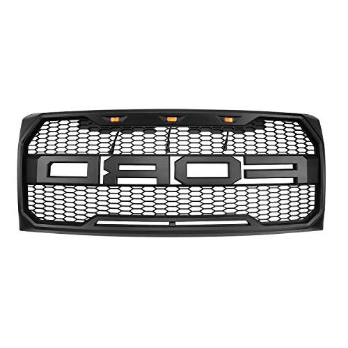 For Ford F-150 Grille BLACK SPORT Front Bumper Hood W/F&R/LED