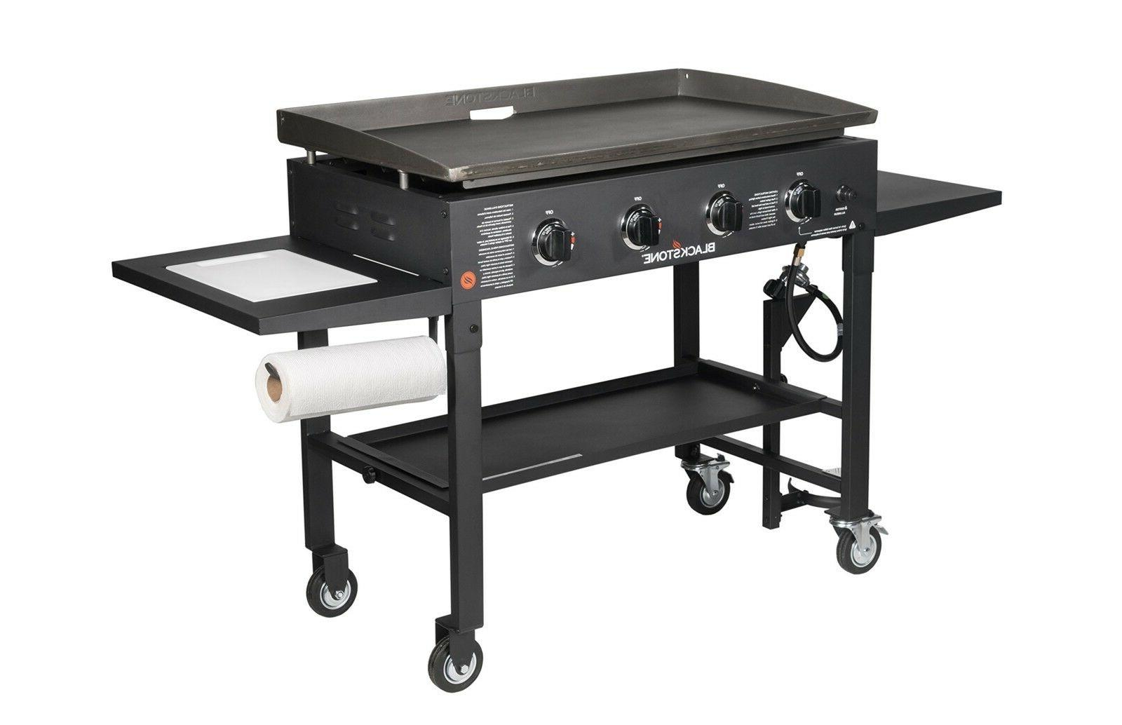 Flat Gas Griddle Station - 4-burner -