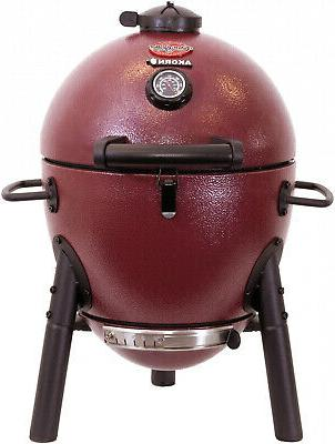 Char-Griller Akorn Jr. Kamado Kooker Charcoal Grill Red, New