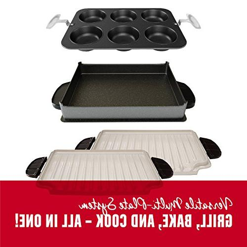 George Evolve System Ceramic Deep Bake Pan and Pan, Red, GRP4800R