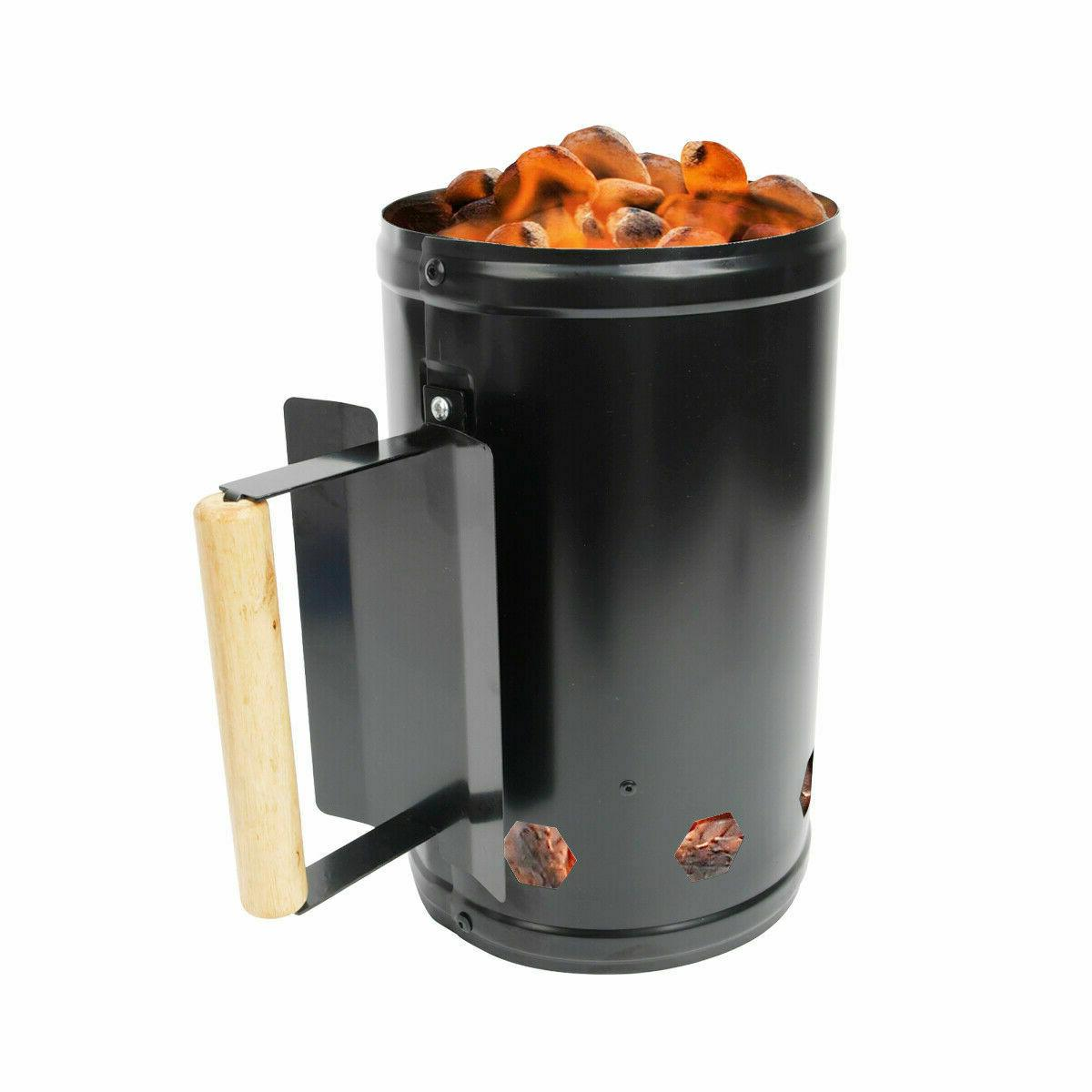 Barbecue Starter Charcoal Grill Steel Quick Fire Lighter Black
