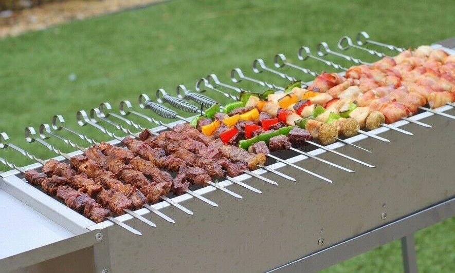 delux stainless charcoal kebab grill