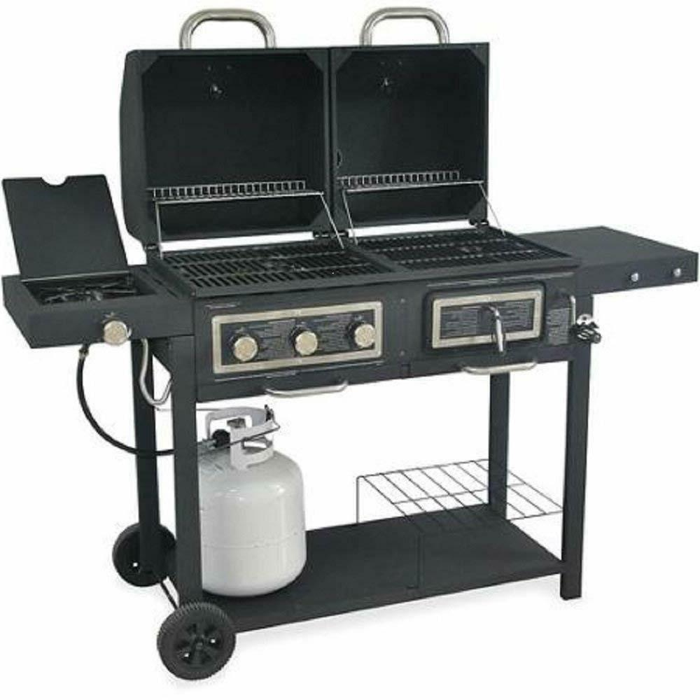 Durable Outdoor Barbeque & Burger Grill Combo Comes Chrome a Heat Grill and Also Has a Handy Holders