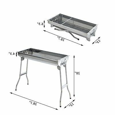 "29"" BBQ Charcoal Grill Stainless Steel Cooker Silver Party"