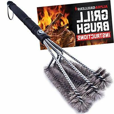 """Alpha Grillers 18"""" Grill Brush. Best BBQ Cleaner. Safe For A"""