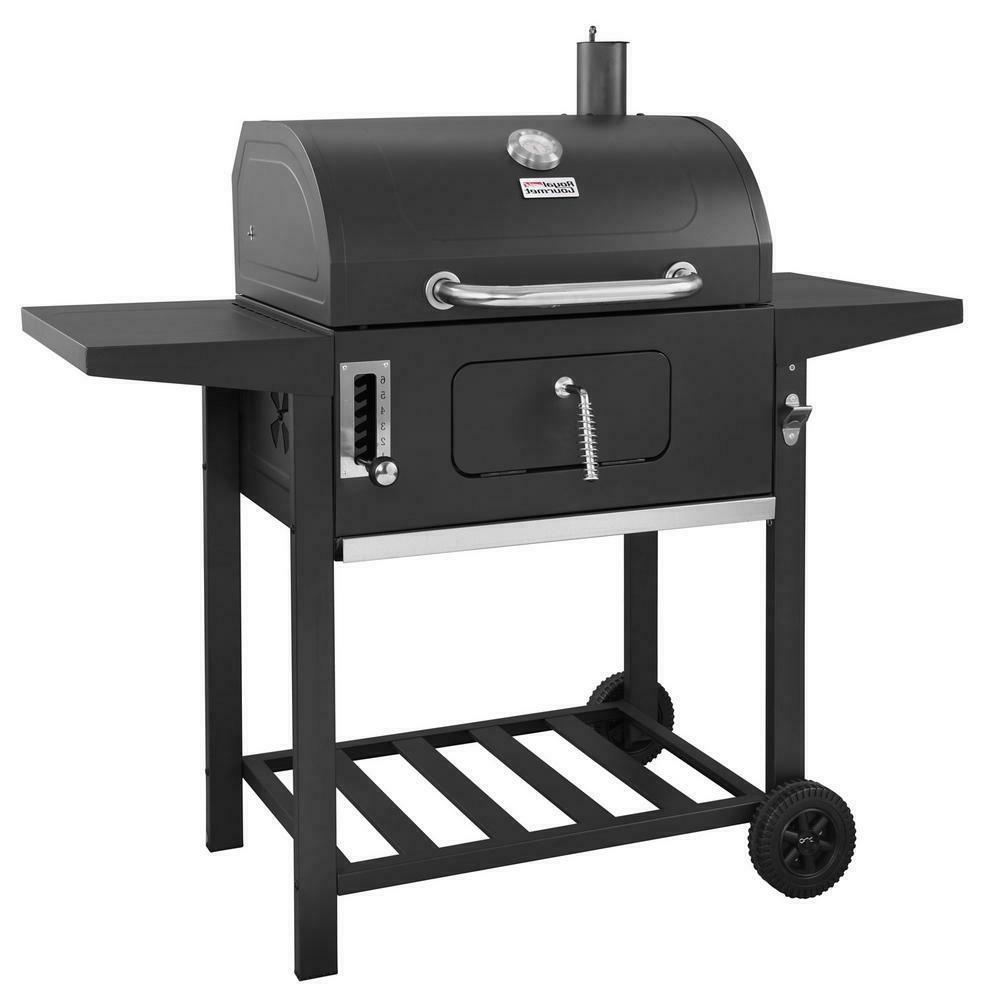 Large Charcoal BBQ Side Vents Control Side Cook Tables