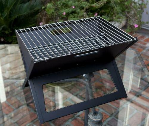 Fire Notebook Charcoal Grill Folds flat to 1-inch for easy transport