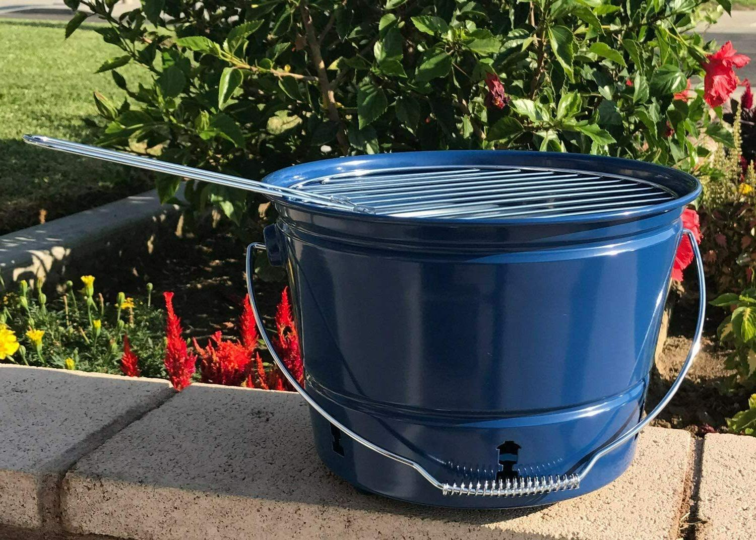 party pail charcoal grill blue