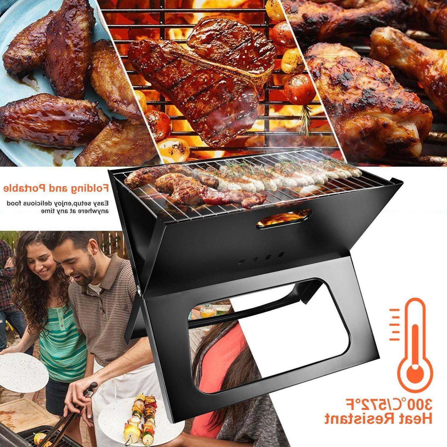 Foldable Compact Grill Charcoal Kabob Camping Cooker