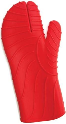 red silicone barbecue oven mitt