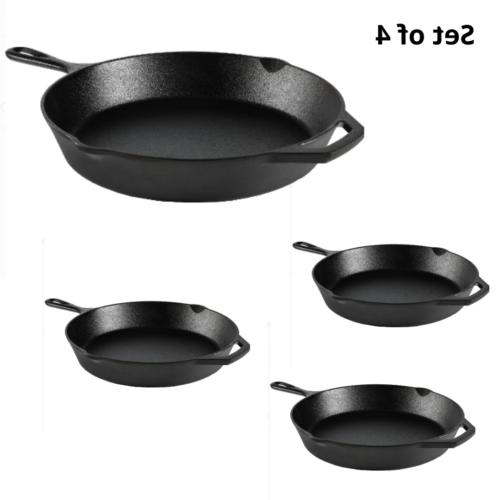 set of 4 cast iron skillet 12