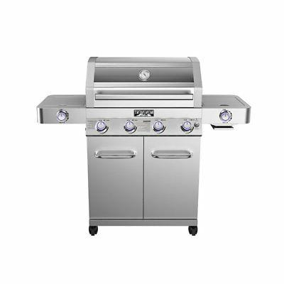 Monument Grills Clearview Lid 4-Burner Side Sear Propane Gri