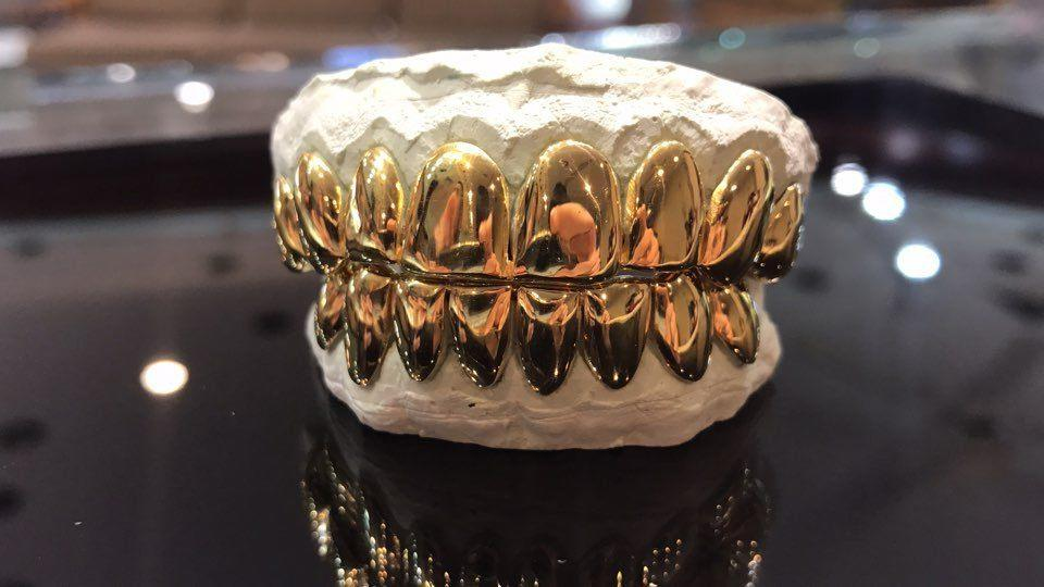 Sterling Yellow Plated Cut Custom Grill