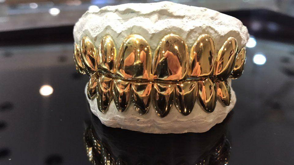 Sterling Silver 18k Yellow Gold Cut Custom Real Grill Grillz