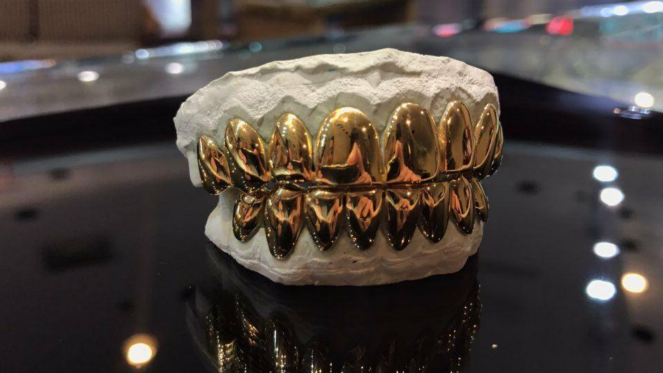 Sterling W/ Yellow Gold Cut Grill Grillz
