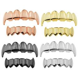 18K Gold Grills 6 Top Bottom Fang Teeth Sharp Grill Hallowee