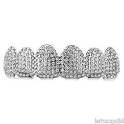Micro Pave Grillz Iced-Out Teeth Top Upper Silver Tone Micro
