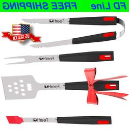NEW - BBQ Set of 4 - Grill Tools Grilling Utensils Kit Barbe