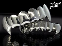 New Custom Fangs Silver Plated Teeth Grillz Caps Top & Botto