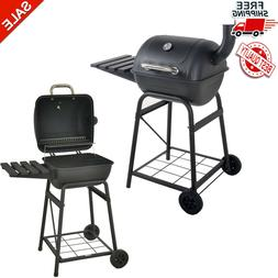 "Outdoor 26""Charcoal Grill New Mini Barrel With Side Shelf Bl"