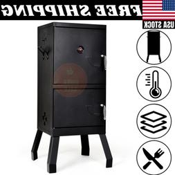 Outdoor Vertical Charcoal Smoker BBQ Barbecue Grill w/ Tempe