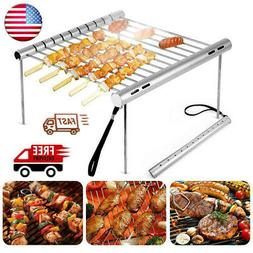 Portable Barbecue Charcoal Grill Stainless Steel Outdoor Cam