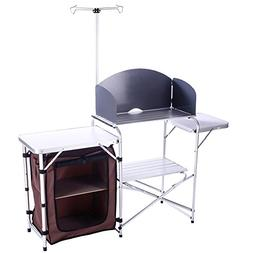 CampLand Outdoor Portable Cook Station Folding Cooking Table