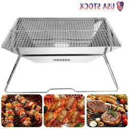 Portable Folding Barbecue BBQ Charcoal Grill Shelf Rack for
