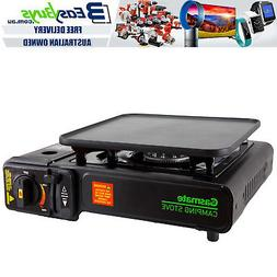 Portable Gas BBQ Stove with PRO Grill Plate Outdoor Barbecue