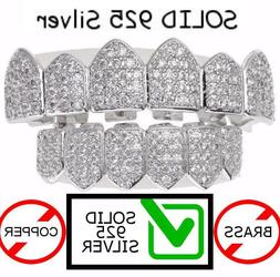 Real SOLID 925 Silver ICED OUT Diamond Custom GRILLZ Teeth T