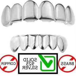 Real SOLID 925 Sterling Silver Custom GRILLZ Teeth Top Botto
