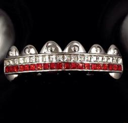 Premium Grillz Red Platinum Silver Styled Iced Out HipHop Mo