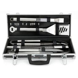 Mr. Bar-B-Q 18 Piece Tool Set Tire Track Case - Stainless St