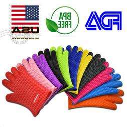 Silicone BBQ Heat Resistant Gloves Oven Grill Pot Holder Kit