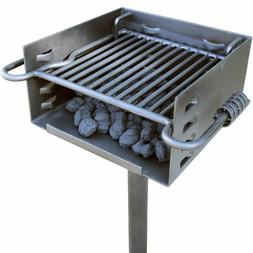 Titan Single Post Park Style Grill Charcoal BBQ Outdoor Heav