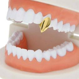 Single Tooth Fang Grillz Silver/14K Gold Plated Grill Cap Va