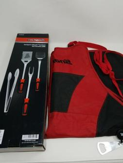 Snap-on Grill Apron and 4pc BBQ Utensil Set