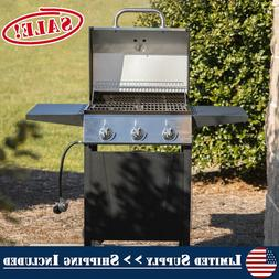 Stainless Steel 3 Burner Gas Grill Propane BBQ Barbecue Deck