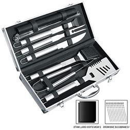 slashome 21 Pieces BBQ Grill Tools Set Heavy Duty Stainless