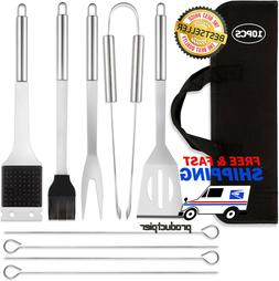 Stainless Steel BBQ Grill Tools Set - 5 Piece Grilling Tool