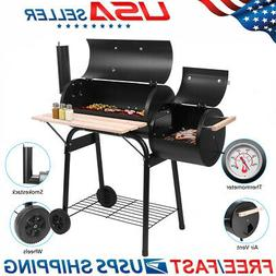 Steel Portable Backyard Charcoal BBQ Grill and Offset Smoker