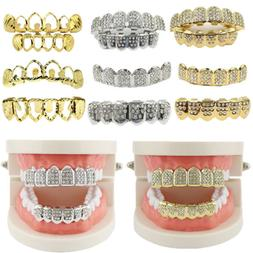 USA Gold Teeth Grillz Top Bottom Iced Out Hip Hop Tooth Cap