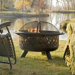 Outdoor Wood Burning Fire Pit Deck Patio Free Grill Grate an